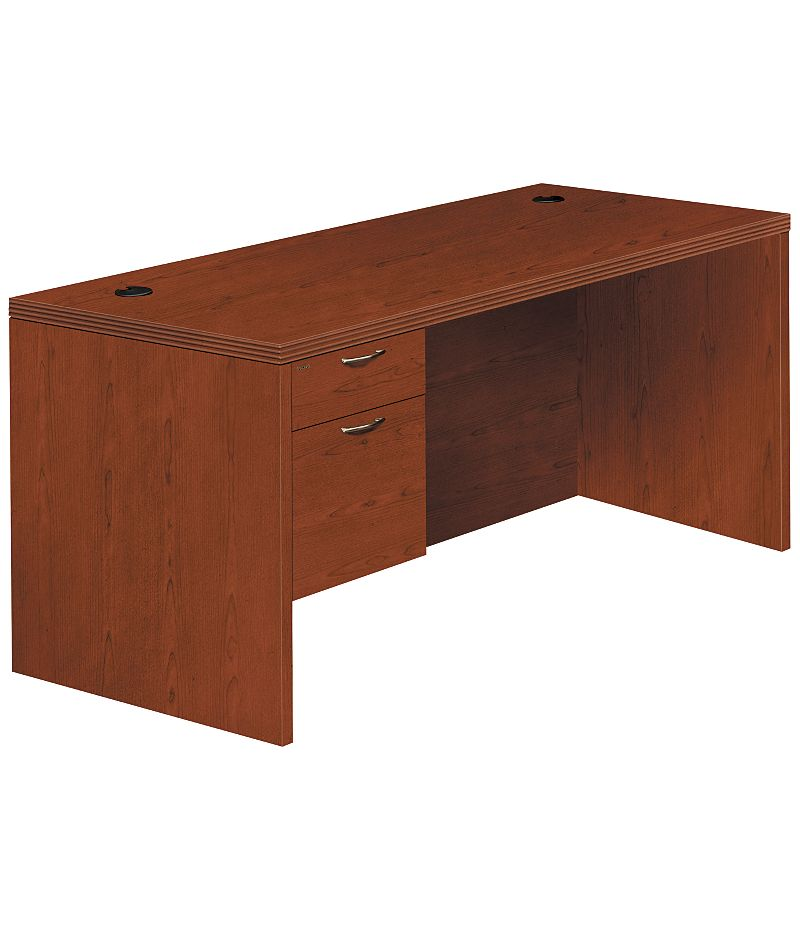 HON Valido Left Pedestal Desk Brown Front Side View H11584L.B.JJ