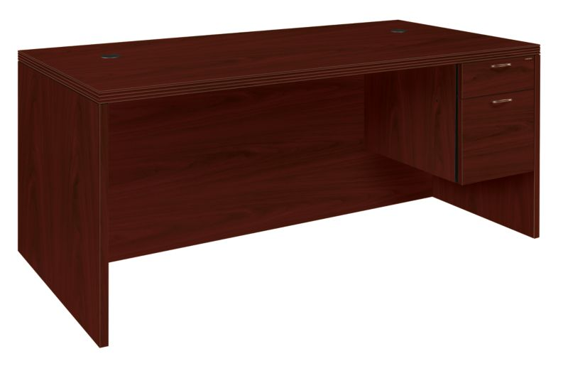HON Valido Right Pedestal Desk Mahogany Front Side View H11585R.A.F.NN