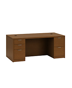 HON Valido Double Pedestal Desk Bourbon Cherry Front Side View H115890.A.B.HH