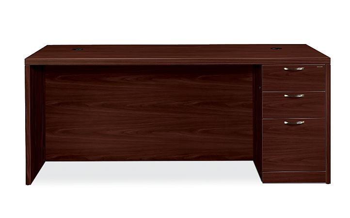 HON Valido Right Pedestal Desk Mahogany Front Side View H115895R.A.B.NN
