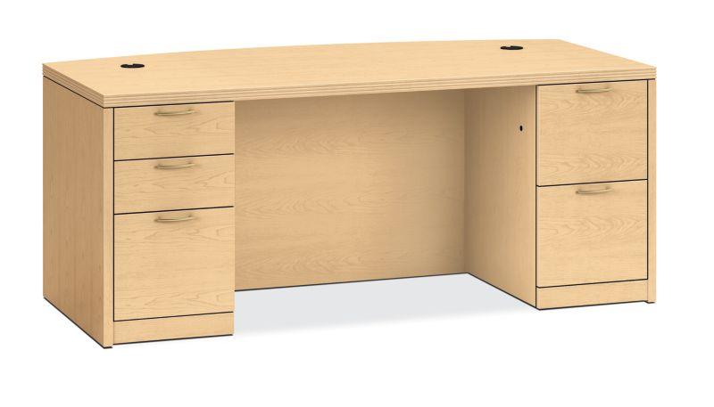 HON Valido Double Pedestal Desk Natural Maple Front Side View H115899.A.B.DD
