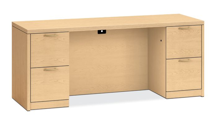HON Valido Double Pedestal Credenza Natural Maple Front Side View H115900.A.B.DD
