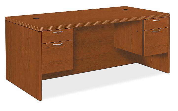 HON Valido Double Pedestal Desk Bourbon Cherry Front Side View H11593.A.F.HH