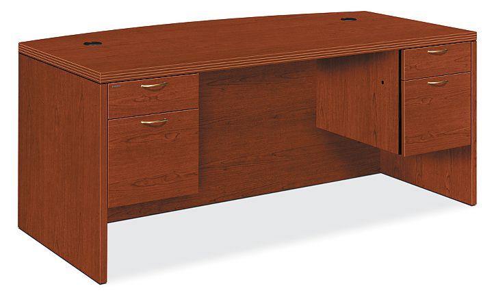 HON Valido Double Pedestal Desk Brown Front Side View H11595.A.B.JJ