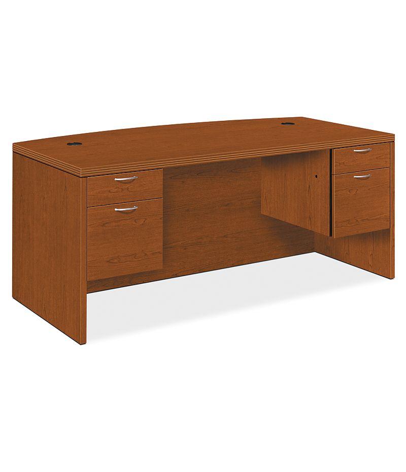 HON Valido Double Pedestal Desk Harvest Bourbon Cherry Front Side View H11595.A.C.HH