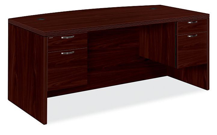 HON Valido Double Pedestal Desk Mahogany Front Side View H11595.A.F.NN