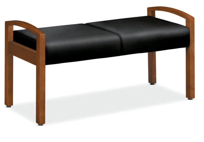 HON Versant Two Seat Bench Black Leather Front Side View HHB02.H.SS11