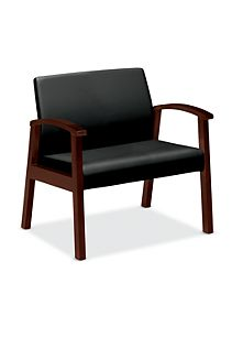 HOn Versant Bariatric Single Seat Black Leather Mahogany Finish Front Side View HHCB50.N.SS11