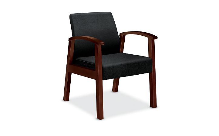 HON Versant Tandem Single Seat Centurion Black Color Mahogany Finish Front Side View HHCT01.N.CU10