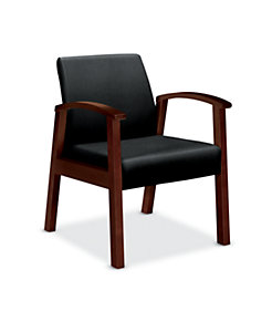 HON Versant Tandem Single Seat Black Leather Mahogany Finish Front Side View HHCT01.N.SS11
