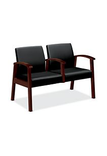 HON Versant Tandem Two Seat Black Leather Mahogany Finish Middle Arm Front Side View HHCT02.N.SS11