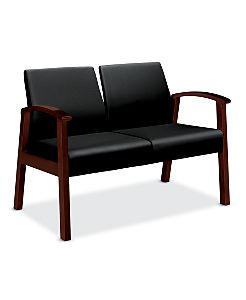 HON Versant Tandem Two Seat Black Leather Mahogany Finish Front Side View HHCT12.N.SS11