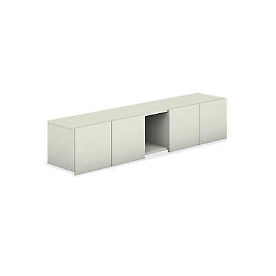 HON Voi Overhead Cabinet with Cubbie White Front Side View HLSL1472D.B9.B9.X
