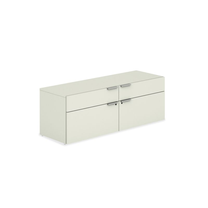 HON Voi Low Credenza White Front Side View HLSL2060LD4.B9.B9.T1