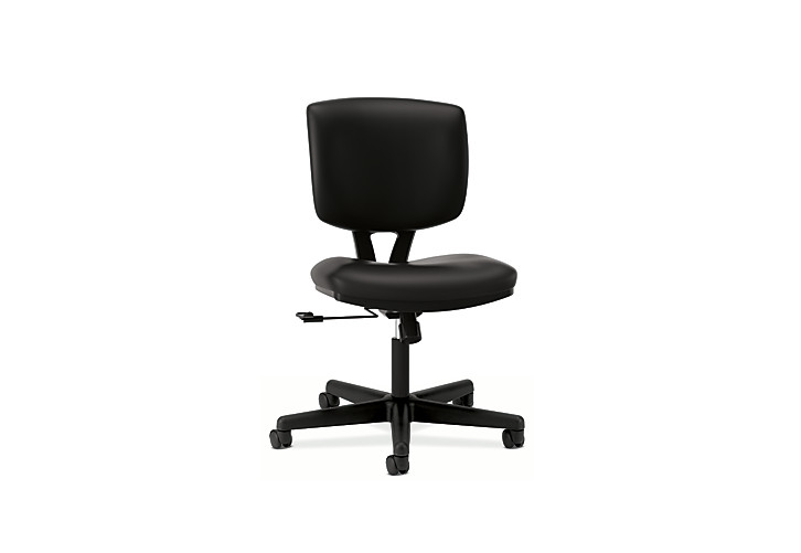 HON Volt Task Chair Black Leather Armless Front Side View H5701.SB11.T
