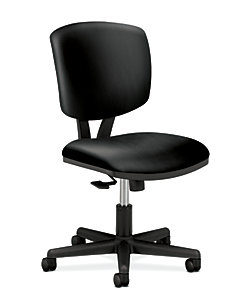 HON Volt Task Chair Black Leather Armless Front Side View H5703.SS11.T