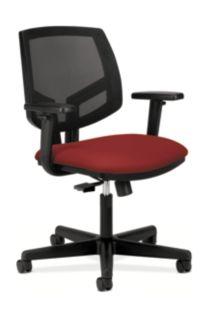 HON Volt Mesh Back Task Chair Red Synchro Tilt Adjustable Arms Front Side View H5713