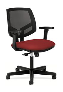 HON Volt Mesh Back Task Chair Red Synchro Tilt Adjustable Arms Front Side View H5713
