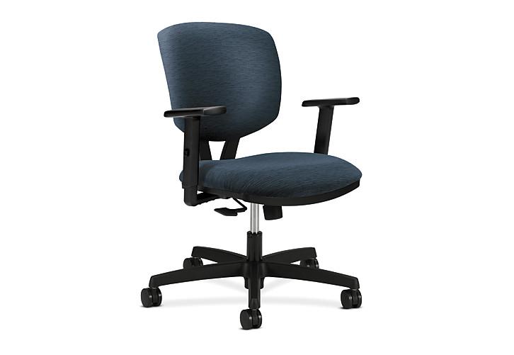 HON Volt Task Chair Blue Adjustable Arms Synchro-Tilt Front Side View H5723.H.A105.T