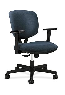 HON Volt Task Chair Blue Adjustable Arms Synchro-Tilt Front Side View H5723.H.A105.T