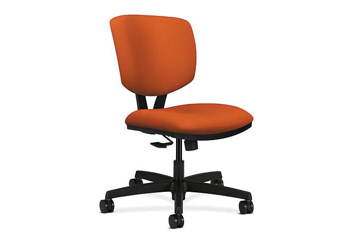 HON Volt Task Chair Orange Armless Synchro-Tilt Front Side View H5723.H.CU46.T