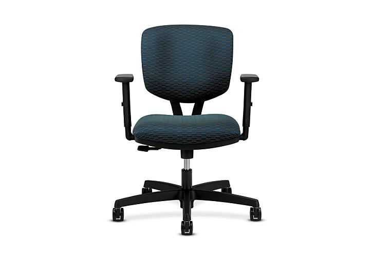 HON Volt Task Chair Blue Adjustable Arms Synchro-Tilt Front View H5723.H.D105.T