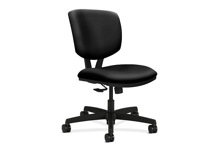 HON Volt Task Chair Black Armless Synchro-Tilt Front Side View H5723.H.UR10.T