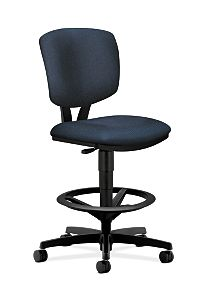 HON Volt Task Stool Dark Blue Armless Front Side View H5725.H.BK85.T