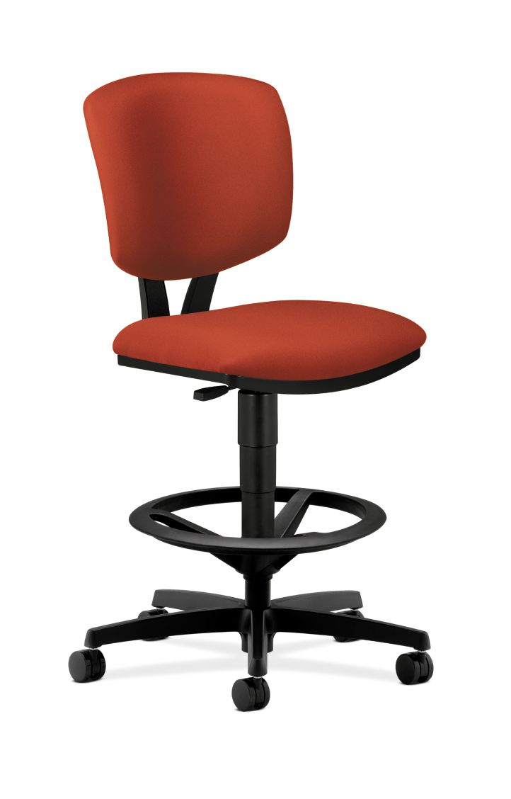 HON Volt Task Stool Orange Armless Front Side View H5725.H.CU42.T