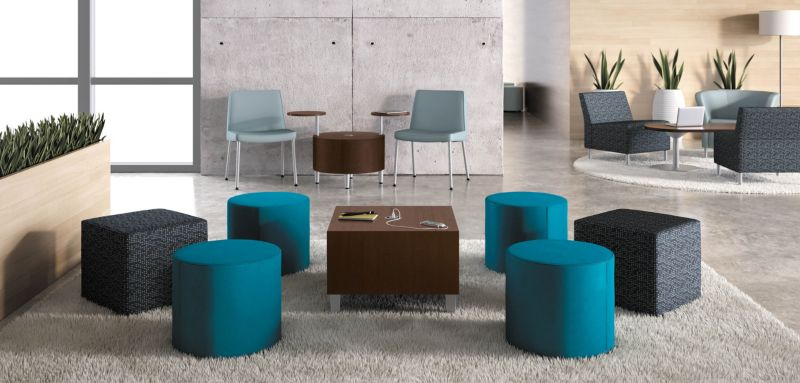 Room scene with furniture - Flock Mini Cubes and Cylinders, Cylinder and Cube Tables, Tablet Arm, Round Lounge and Modular Chairs