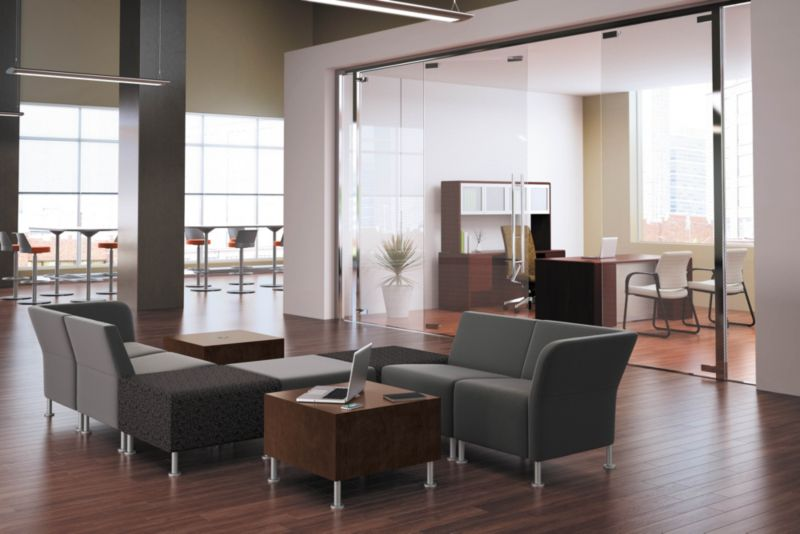 Room scene with furniture - Flock Modular Chairs, Square Ottoman, Laminate Cube Table, Ignition Chairs and 10700 desk