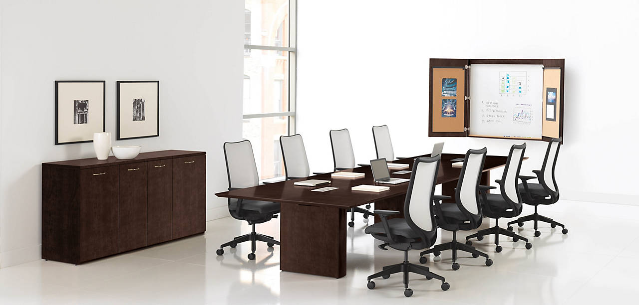 Preside Boardroom Office Table in Mocha Finish