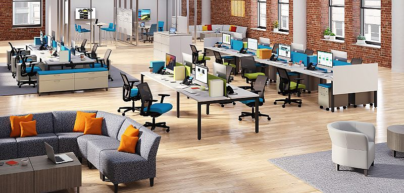 Room scene with furniture - Empower 4/6/8 pack tables, fabric screens, Contain low credenza with cushion, Flagship pedestal, Iginiton task chair, Flock modular and round lounge chairs, laminate cylinder and square tables, 4-leg stool, rectangle table