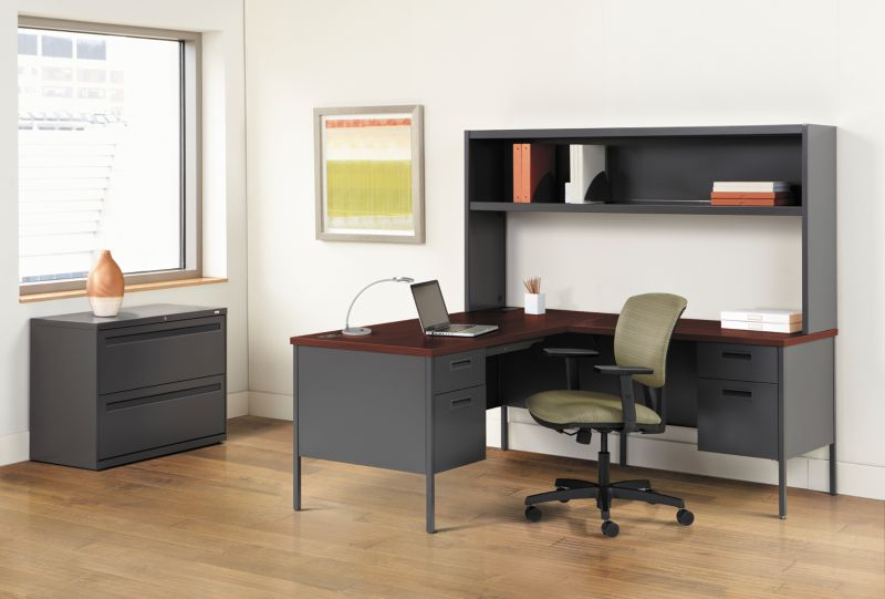 Metro Desk with Brigade Storage Lateral Filing Cabinet