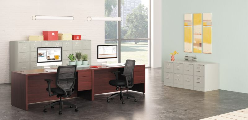 Vertical Filing Cabinets in an Office space