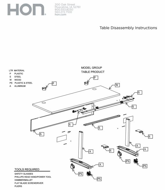Tables Disassembly Instructions