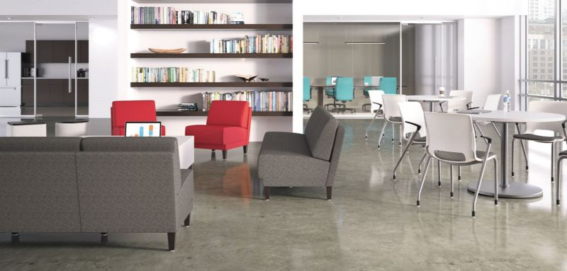 Room scene with furniture - Grove single, 2 and 3 seat lounges, Motivate chairs, Arrange white table tops with base and disc shroud, Flock square and cylinder mini, rectangle collaborative table
