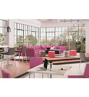 Room scene with furniture - Flock modular and guest chairs, 4-leg stools, cube collaborative table, mini square and cylinder seating, Arrange square tables