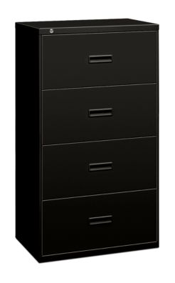 basyx 400Series 4-Drawer Lateral Black Lock Front Side View H434.L.P