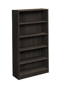 basyx-BLSeries 5-Shelf Bookcase Black Front Side View HBL2194.ESES