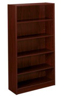 basyx-BLSeries 5-Shelf Bookcase Dark Brown Front Side View HBL2194.NN