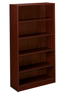 basyx-BLSeries 5-Shelf Bookcase Dark Brown Front Side View HBL2194.NN