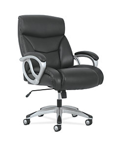 basyx by HON Big & Tall High-Back Executive Chair Black Fixed Arms Front Side View HVST341