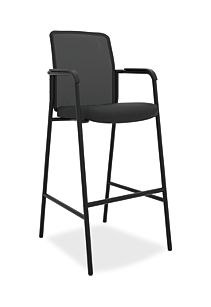 basyx HVL530 Series Mesh Back Cafe Height Stool Black Front Side View HVL538.ES10