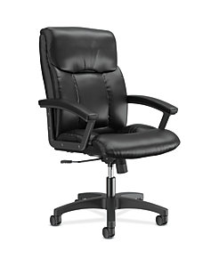 basyx HVL151 Series Executive High-Back Chair Black Leather Front Side View HVL151.SB11