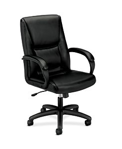 basyx HVL161 Series Executive High-Back Chair Black Leather Front Side View HVL161.SB11