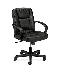 basyx HVL171 Series Executive Mid-Back Chair Black Leather Front Side View HVL171.SB11