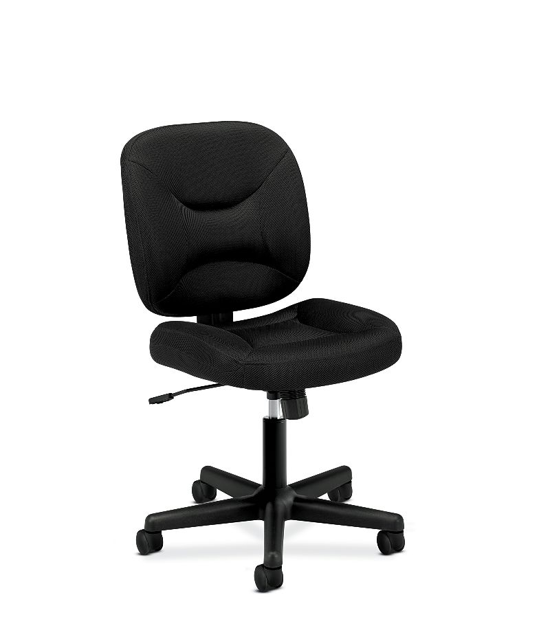 basyx HVL200 Series Low-Back Task Chair Black Front Side View HVL210.MM10