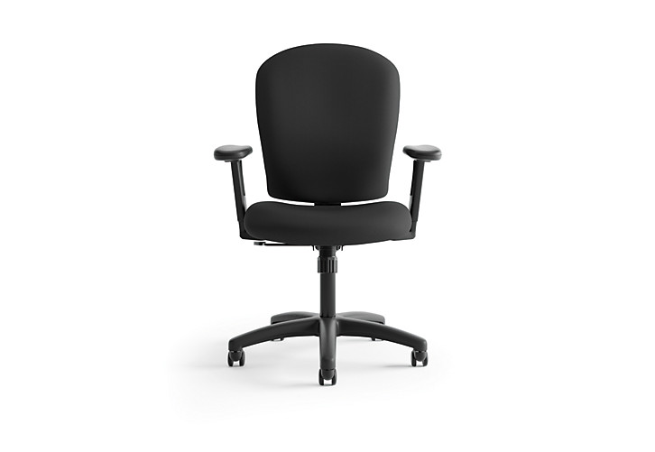 basyx HVL200 Series Mid-Back Task Chair Black Leather Front View HVL220.VA10