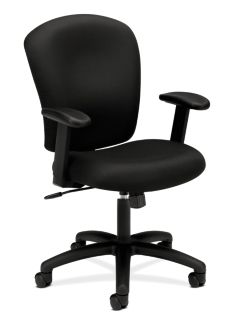 basyx HVL200 Series Mid-Back Task Chair Black Leather Front Side View HVL220.VA10